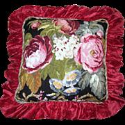 Harris, Huge Wool Needlepoint Floral Pillow, Opulent Chenille Ruffle!