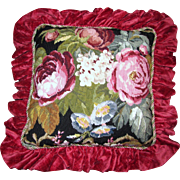Huge Wool Needlepoint Floral Pillow, Opulent Chenille Ruffle!