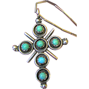 Vintage Native American Sterling & Turquoise Cross Necklace, 7 grams