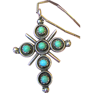 Vintage Navajo Style Sterling & Turquoise Cross Necklace, 7 grams