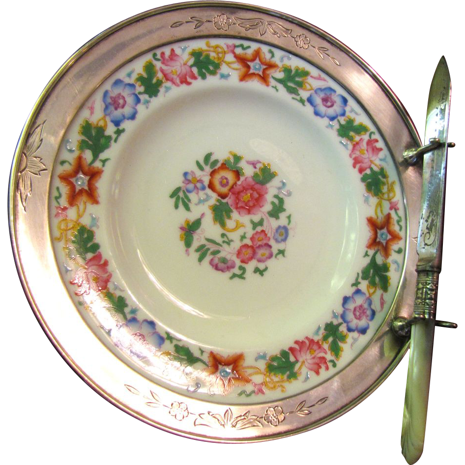 RARE Antique Wedgwood Plate Sterling with Mounted Border & Mother of Pearl Knife