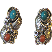 Navajo Wilbert Benally Sterling Turquoise & Coral Floral Post Earrings, 5 grams