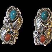 Navajo Wilbert Benally Sterling Turquoise & Coral Floral Post Earrings, 5 grams