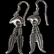 Cute Sterling Bear & Feather South Western Earrings, 8 grams
