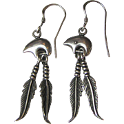 Cute Sterling Bear & Feather South Western Earrings, 8 grams