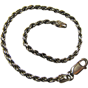 "Italian Sterling 7 1/4"" Rope Twist Bracelet, 5 grams"