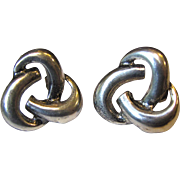 Classic Mid Century Large Sterling Knot Earrings, 8 Grams, US Made