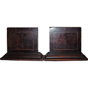 Edwardian Inlaid Mahogany Wood Bookends