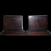 Edwardian Inlaid Mahogany Wood Bookends