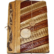 "Hand Made Snake Skin Journal, Filled with Hand Made Paper, Blank Pages, 5x7x1"", Like New"