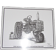 "1948 McCormick Farmall International Harvester Print by Artist Dale Adkins, Laminated 11"" x 14"""
