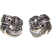 Elegant Sterling & Marcasite Knot Earrings, 5 grams