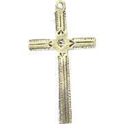 Early Mexican Sterling Engraved Small Cross, Pendant or Charm