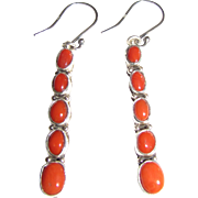 Navajo G. Jones Sterling & Natural Coral Dangle Earrings, 9 grams