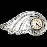 Mikasa Crystal Quartz Desk or Mantle Clock, Clearwater Wave