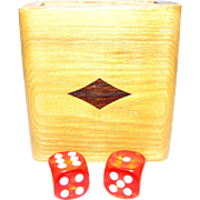 Inlaid Hardwood Dice Storage Box, Decorated w/ 2 Dice