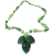 Art Deco Mexican Carved Jade Aztec Face Necklace
