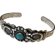 Early Navajo Sterling & Turquoise Cuff Bracelet, 13 grams