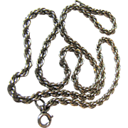 "Vintage Heavy Sterling Silver 18"" Rope Chain, 25 grams"