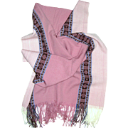 Soft Pink Latin American Design Fringed Shawl