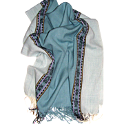 Soft Blue Latin American Design Fringed Shawl
