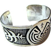 Native American Sterling Overlay Man in the Maze Cuff Bracelet, 60 grams