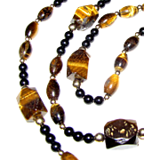 "Sophisticated 36"" Tigers Eye & French Jet Necklace"