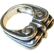 Impressive Sterling Tribal Ring, Size 6, 18 Grams