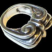 Impressive Sterling Tribal Ring, Size 6, 18 Grams