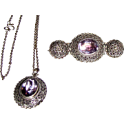Sterling Cannetille Rose Amethyst Pin & Pendant Set, 18 grams