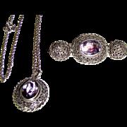 Sterling Cannetille Rose Amethyst Pin & Pendant Set, 18 grams