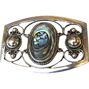 1950's Mexican Sterling & Abalone Pin by Far Fan, 21 grams