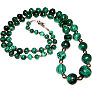 "Massive 38"" Sterling & Hand Cut Malachite Necklace, 270 grams"