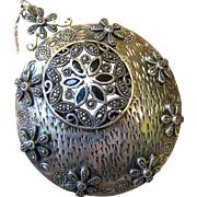 "3"" Sterling & Marcasite Floral Pendant on 24"" Chain, 32 grams"