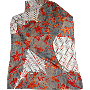 "Vibrant 56"" by 14"" Floral Pure Silk Long Scarf"