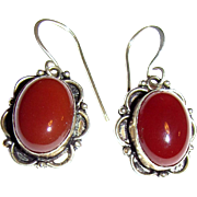 Bold Sterling & Carnelian Dangle Earrings, Lovely Stones