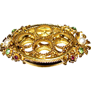 Florenza Ormolu Lipstick Holder w/ Rhinestone Jewels