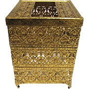 Gilt Metal Filigree Square Tissue Box Holder