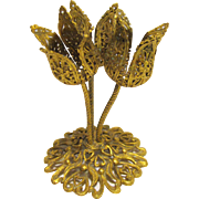 Triple Tulip Design Gilt Filigree Lipstick Holder