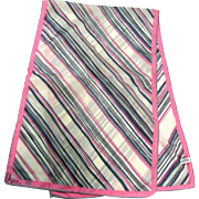 """Vera"" 42"" by 14"" Pink & Gray Striped Nylon Scarf"