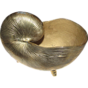 Large Solid Brass Nautilus Sea Shell Planter