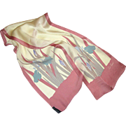 "Pure Silk 48"" by 9"" Iris Design Scarf by Paul Renard"