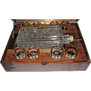 Antique Liquor Music Box w/ Bottle & 8 Shot Glasses
