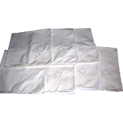 "Seven Floral Embroidered 16"" White Napkins, Mint!"