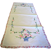 "Gorgeous 32"" Hand Embroidered Flower Basket Runner"