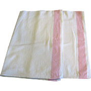 Pristine Pair of Pink Border Linen Hand or Tea Towels