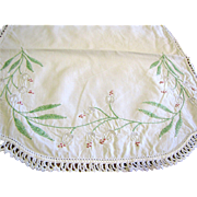 "34"" Snow Drop Embroidered Linen Runner (plus bonus doily)"