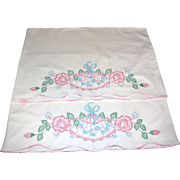 Pair of Rose & Fan Hand Embroidered Pillowshams