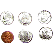 TINY Replica Coins, Five nickels & One Penny, Perfect for Doll Display