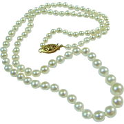 "18"" Graduated Cultured Pearl Necklace w/ 14K Filigree Clasp, Bridal!"
